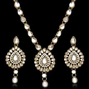 Necklace sets - Antique Jewelry White Kundan Like Work Necklace Set b160w