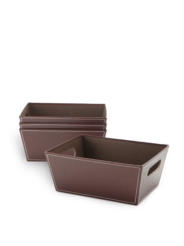 Wald Imports Set of 4 Embossed Paperboard Storage Totes (Brown)