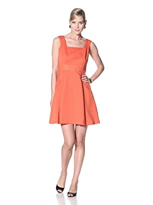 Julia Jordan Women's Fit-and-Flare Dress with Lace (Blood Orange)