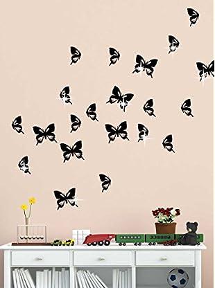 Ambiance Live Wandtattoo 20 tlg. Set Butterflies x15 Swarovski Elements® schwarz