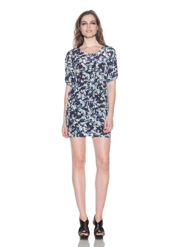 under.ligne by Doo.Ri Women's Floral Print Shirt Dress (Navy/White)