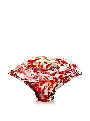 Jozefina Art Glass Glow Bowl, Brown/White