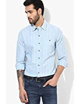 Blue Striped Regular Fit Casual Shirt Levi's