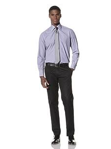 Valentino Men's Dress Shirt (Dark Blue/White Stripe)