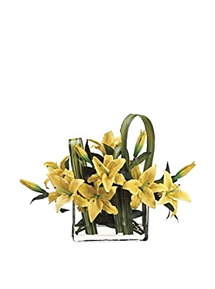 Allstate Floral Casablanca Lily & Flax Leaf in Rectangular Vase, Yellow