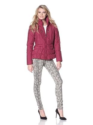 Betsey Johnson Women's Zip Front Puffer Jacket (Fuchsia)
