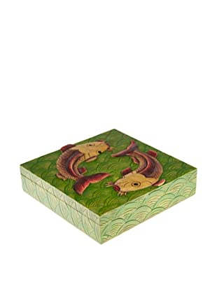 The Niger Bend Square Soapstone Box with Koi Design