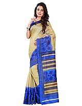 Silk Bazar Women's Tassar Silk Saree with Blouse Piece (Mustard & Blue)
