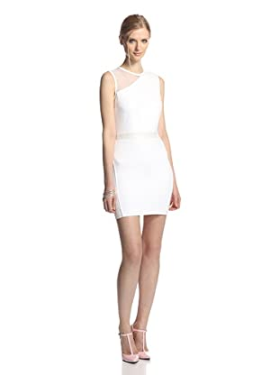 LaPINA Women's Samantha Sheer Top Sleeveless Dress (White/white)