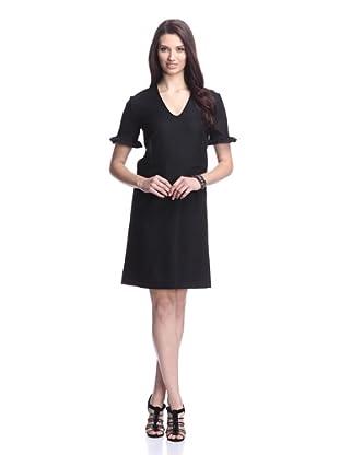 MARNI Women's V-Neck Dress with Ruffle Trim (Black)