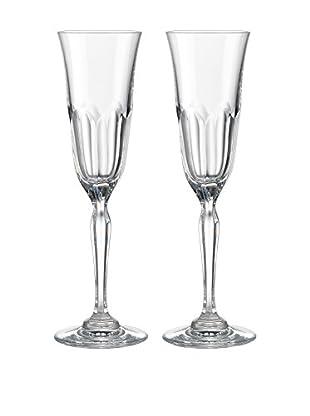Rogaška Set of 2 Aulide 5-Oz. Champagne Flutes, Clear