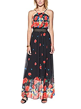 Candy Abito Maxi With Floral Print, Pleated And Openwork