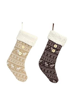 Melrose International Set of 2 Moose Stockings