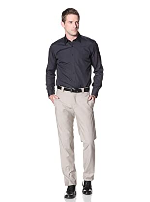 Incotex Ivory Men's Wool Flat Front Trouser (Tan)