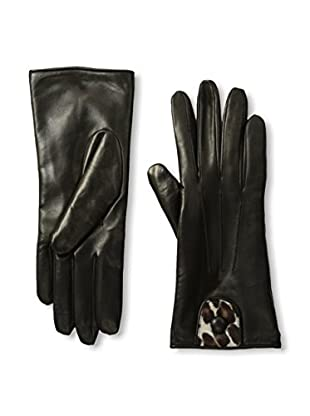 Portolano Women's Cashmere-Lined Leather Glove with Haircalf Cutout (Black/Beige Congo)