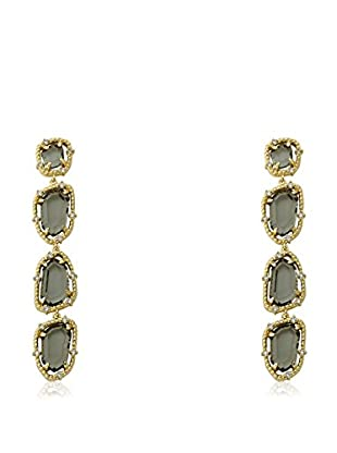 Riccova 14k Gold Plated Cz Around Black Sliced Glass Long Dangle Earrings