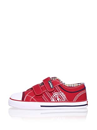 Pablosky Kid's Stitched Logo Sneaker (Red)