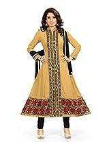 BanoRani Faux Georgette Beige Color Semi Stitched Anarkali Salwar Suit