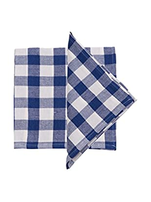 Set of 4 Celia Large Plaid Napkins, Blue/White