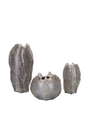 John-Richard Collection Set of 3 Star Fruit Vases, Grey