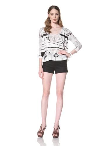 Twinkle By Wenlan Women's Breezy Layered Top (White/Black)