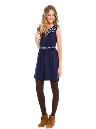Springfield Vestido Flores (Azul Marino)