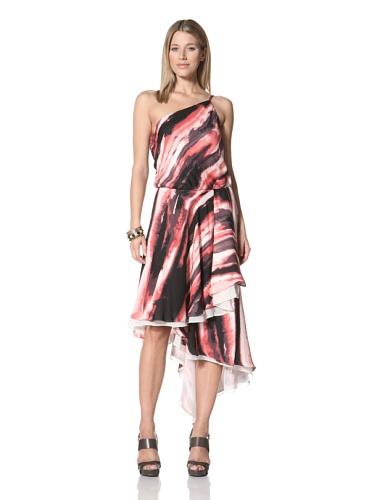 Halston Heritage Women's One-Shoulder Blouson Dress (Poppy)