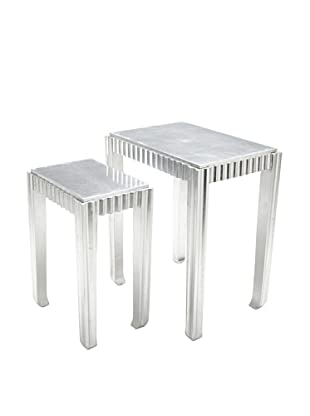 Sienna Set of 2 Nesting Tables, Silver Leaf