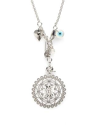 LK Designs Long Medallion Necklace, Silver
