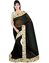 RoopSangam Plain Black Color Chiffon Saree Lacy Border (Daily And Party Wear)