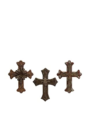 Set of 3 Melane Wood & Metal Wall Crosses
