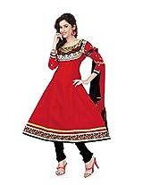 Khushali Women's cotton Unstitched Anarkali Salwar Suit (RED)