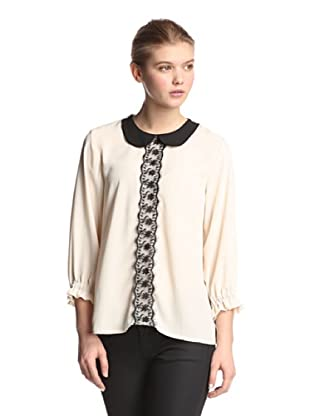 Melissa Masse Women's Peter Pan Top (Creme/Black)