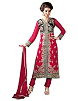 Red Georgette Party & Wedding Wear Heavy Zari Embroidery Churidar Suit 3103