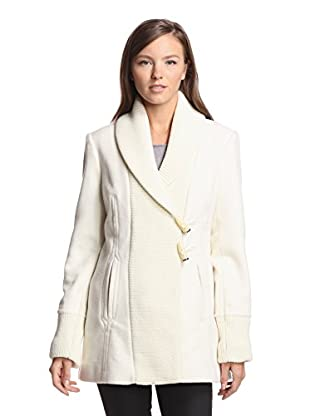 Vince Camuto Women's Toggle Coat with Knit Trim (Cream)