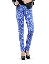 Dashy Club Printed Blue Trendy Pants for Women - ( Size: 32 )