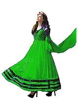 Clickedia Women Net Brasso Green & Black Anarkali Suit- Dress Material
