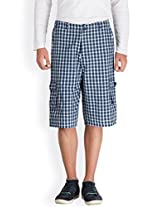 Hypernation Blue and Offwhite Color Checkered Three Fourth For Men