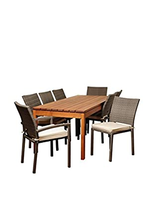 Amazonia Missouri 9-Piece Eucalyptus Wicker Rectangular Dining Set with Off-White Cushions, Brown/Grey
