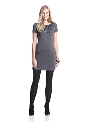 Muse Women's Knit Dress with Ruffle Detail (Heather Grey)