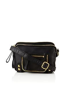 Linea Pelle Women's Dylan Amazing Triple Zip Shoulder Bag (Black)