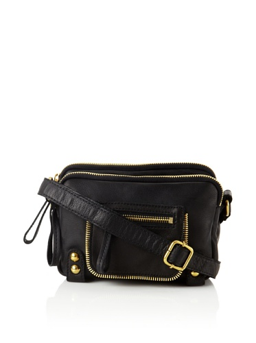 Linea Pelle Women's Dylan Amazing Triple Zip Shoulder Bag (Black)