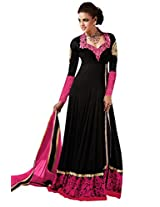 Manvaa BEWITCHING BLACK PINK Embroidered Dress Material