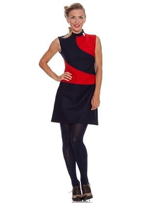 Divina Providencia Vestido Contraste (Rojo / Azul)