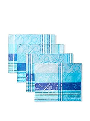 Garnier-Thiebaut Set of 4 Mille Asters Coated Placemats, Piscine
