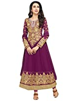 mrig Women Faux Gorgette Semi-Stitched Anarkali Suit (EL30012-Purple)