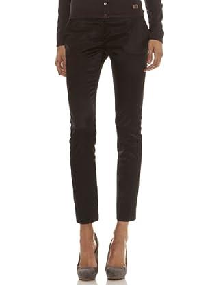 Trussardi Pantalón Liso Y Tejido Con Brillo (negro)