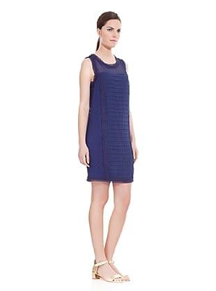 Cortefiel Vestido Plumeti Jaretas (Azul)