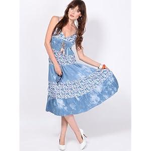 G Mania Gold-001 Maxi Dress-Blue