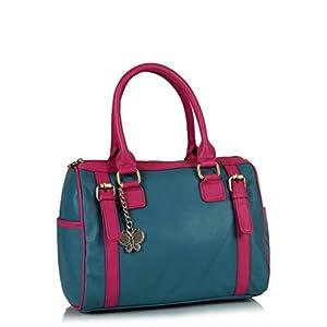 Butterflies Blue and Pink Trendy Handbag